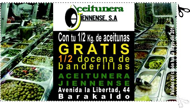 GRATIS* en ACEITUNERA JIENNENSE EN BARAKALDO 1/2 docena de banderillas