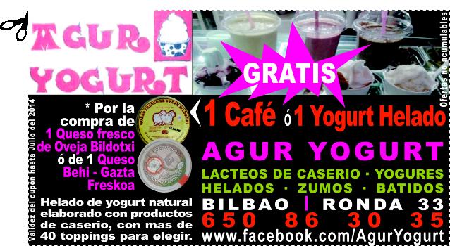 GRATIS 1 Café ó 1 Yogourt Helado en AGUR YOGURT en el Casco Viejo en Bilbao