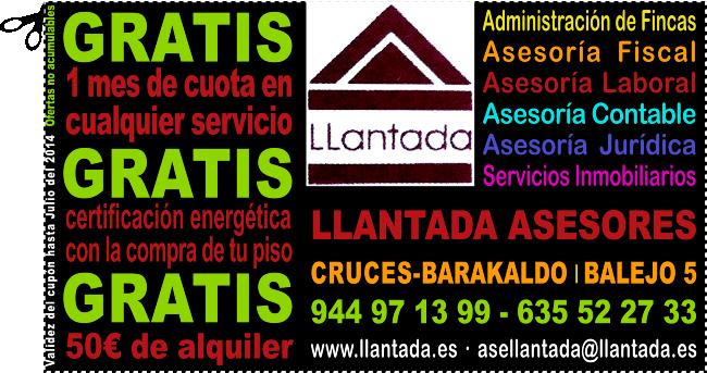 LLANTADA ASESORES BARAKALDO Y LAREDO: GRATIS 1 MES DE SERVICIOS A ELEGIR Y TU CERTIFICADO DE EFICIENCIA ENERGÉTICA CON LA COMPRA DE TU PISO