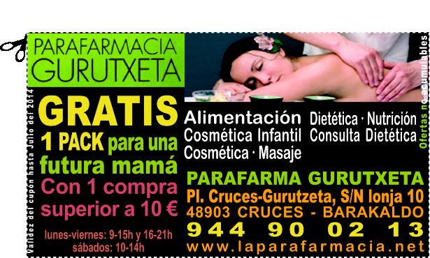 GRATIS 1 PACK para una futura mamá en PARAFARMA GURUTXETA en CRUCES BARAKALDO