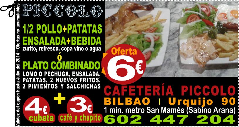 1/2 POLLO+PATATAS+ENSALADA+BEBIDA SOLO 6 EUROS EN PICCOLO BILBAO