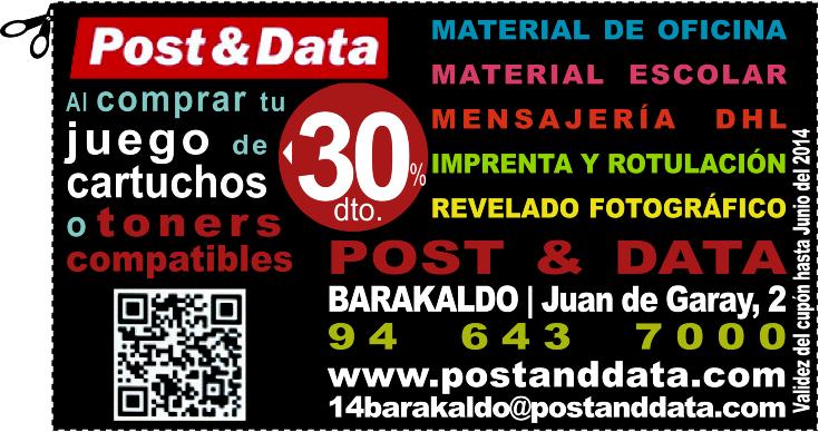 POST & DATA BARAKALDO DESCUENTO 30% Al comprar tu juego de cartuchos o toners compatibles