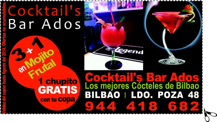 3+1 en Mojito Frutal y 1 chupito GRATIS con tu copa en Cocktail's Bar Ados Los mejores Cócteles de Bilbao