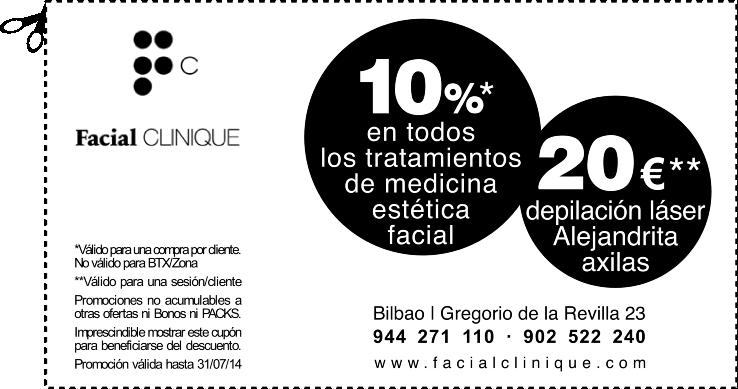 En FACIAL CLINIQUE en Bilbao: Depilación Láser Alejandrita en axilas por 20€ y 10% de descuento en todos los tratamientos de medicina estética facial