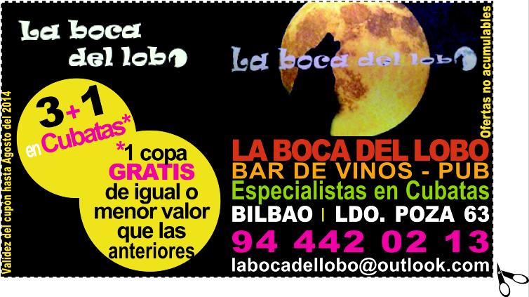 Copa GRATIS* en La boca del lobo, especialistas en cubatas en Bilbao
