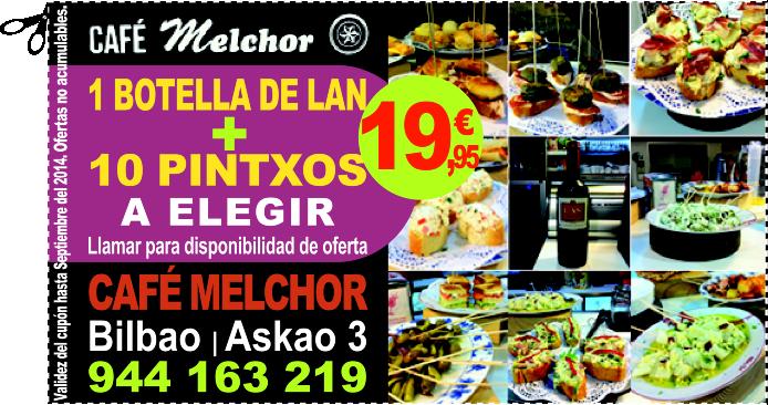 CAFÉ MELCHOR EN BILBAO OFRECE 1 BOTELLA DE LAN + 10 PINTXOS A ELEGIR POR SOLO 19,95 EUROS
