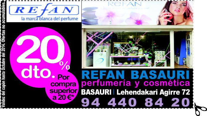 REFAN BASAURI perfumería y cosmética te ofrece un descuento del 20%