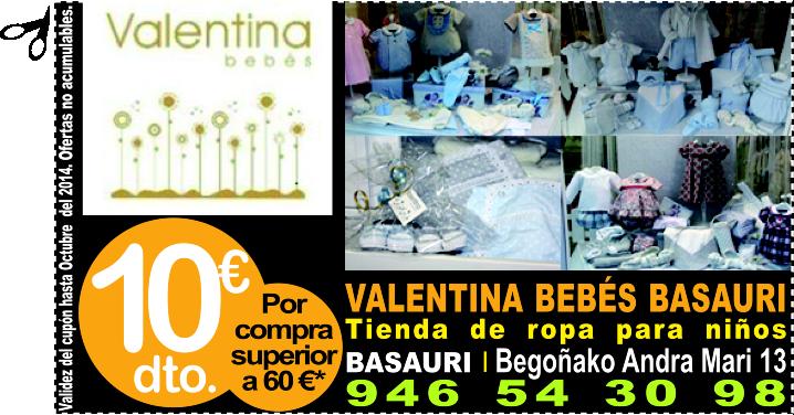 VALENTINA BEBÉS BASAURI ropa infantil y complementos te regala 10 euros de descuento