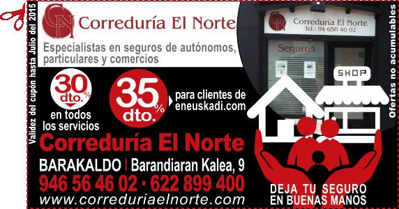 Correduría de seguros El Norte en Barakaldo regala un 35% de descuento a los clientes de eneuskadi.com