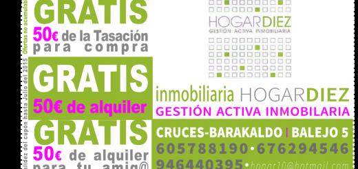 HOGAR DIEZ Inmobiliaria en Cruces Barakaldo te regala 50€ para tu alquiler