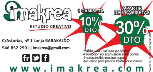 DESCUENTO DEL 30% EN CAMISETAS EN IMAKREA ESTUDIO CREATIVO EN BARAKALDO