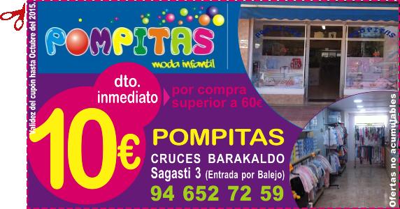 Pompitas Moda Infantil en Barakaldo te regala 10 euros de descuento inmediato